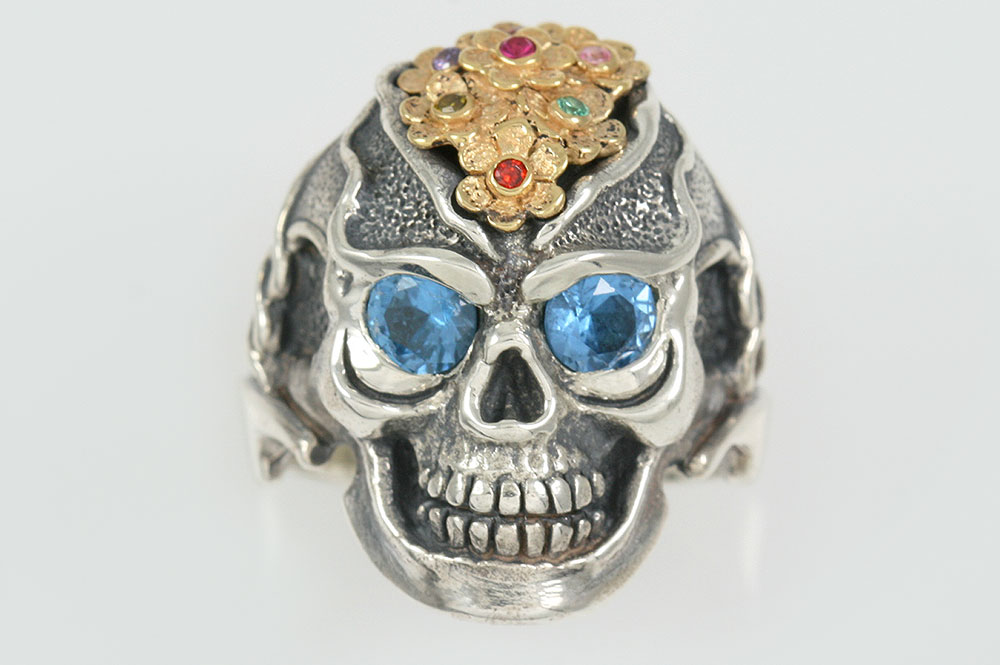 Forever Love Topaz Eyed Flower Skull Silver Ring LR-134