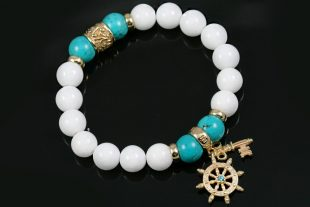 Fortuna Sheep Wheel & Golden Key 10mm Turquoise & White Jade Beaded Bracelet BB-082