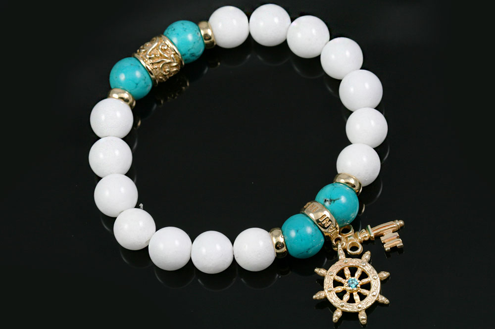 Fortuna Sheep Wheel & Golden Key 10mm Turquoise & White Jade Beaded Bracelet BB-082