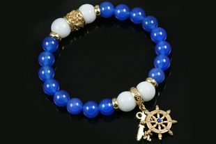 Fortuna Sheep Wheel & Golden Key 8mm Blue Agate & White Jade Beaded Bracelet BB-077