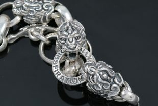 Four Lion Heads Symbolic Sterling Silver Bracelet BR-011