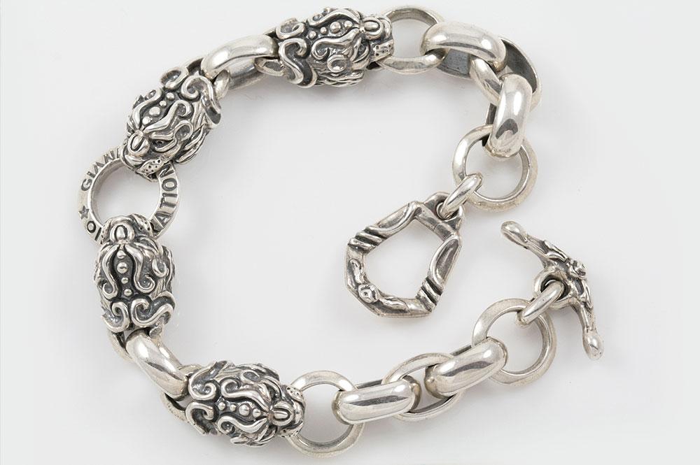 Four Lion Heads Symbolic Sterling Silver Bracelet BR-011