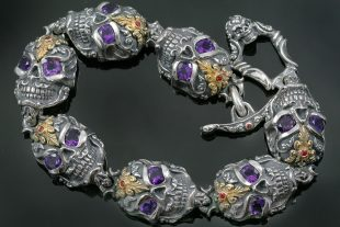 French Skull Amethyst Eyes Luxurious Gold & Silver Bracelet BR-047