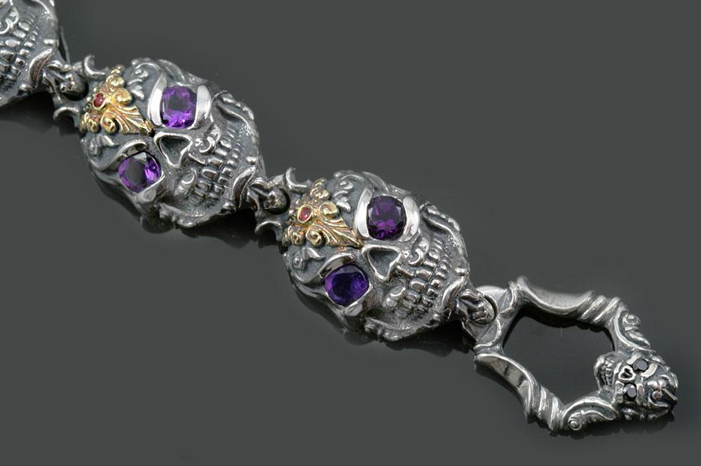 French Skull Amethyst Eyes Luxurious Gold & Silver Bracelet BR-047
