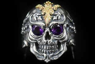 French Skull Gold Amethyst Eyes Silver Ring MR-005G