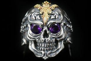 French Skull Gold Amethyst Eyes Silver Ring MR-005G