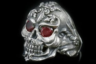 French Skull Ruby Eyes Silver Ring MR-005S