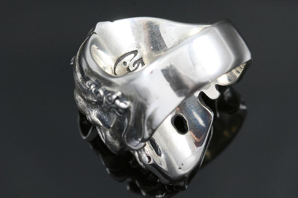 French Skull Ruby Eyes Silver Ring MR-005S