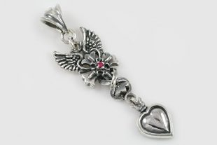Gabriela Ruby Winged Cross & Heart Silver Pendant PT-064