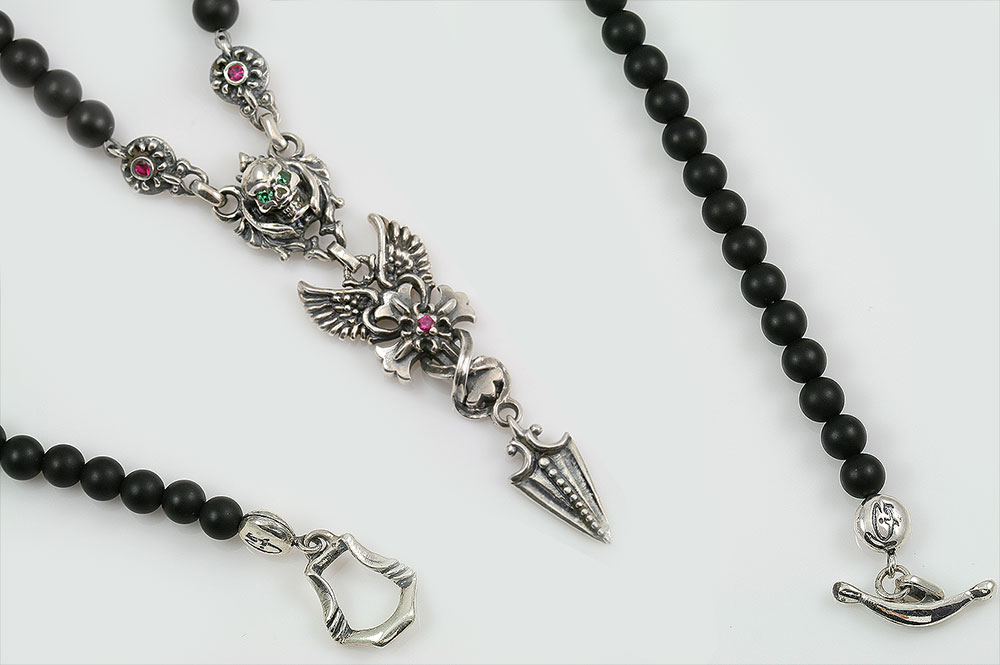 Gabriella Drop Arrow Angel Winged Cross & Green Eyed Skull Silver Necklace with Black 4mm Matte Onyx Beaded BNK-191