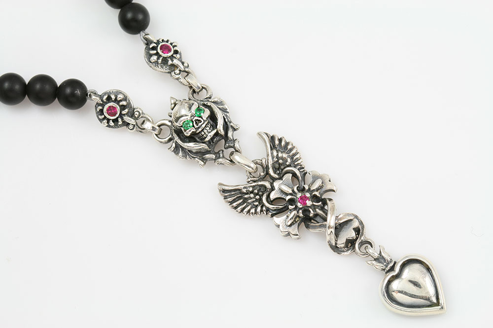 Gabriella Drop Heart Angel Winged Cross & Green Eyed Skull Silver Necklace with Black 4mm Matte Onyx Beaded BNK-190
