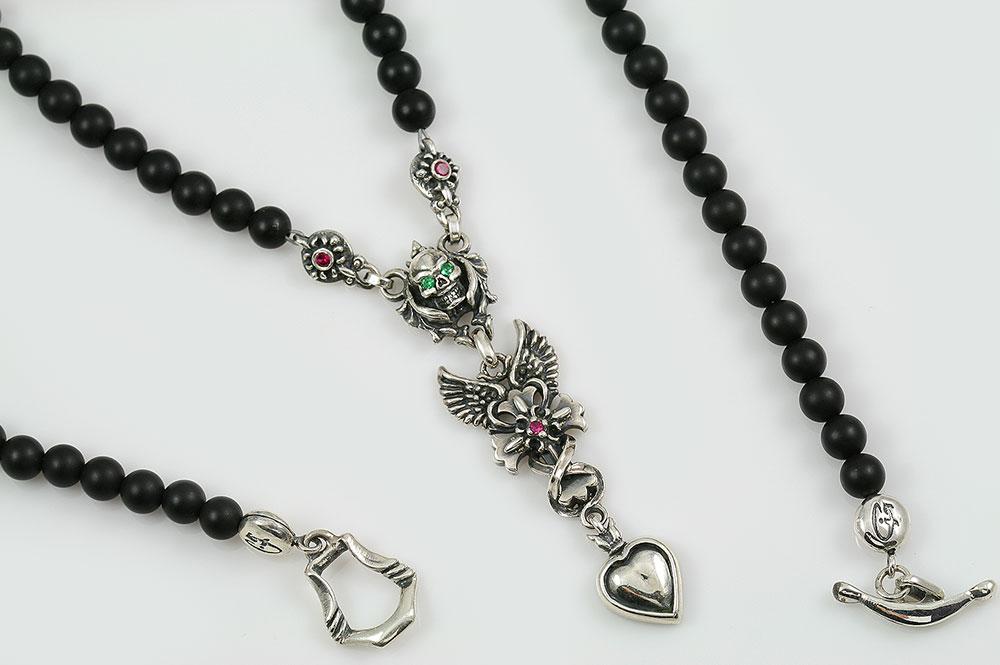Gabriella Drop Heart Angel Winged Cross & Green Eyed Skull Silver Necklace with Black 4mm Matte Onyx Beaded BNK-190