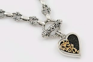 Giani Heart Black Stingray Skin Two Tone Silver Necklace NK-138