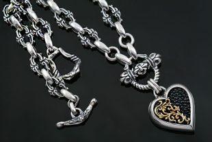 Giani Heart Black Stingray Skin Two Tone Silver Necklace NK-138