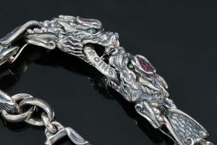 Giant Drago Natural Ruby Biting Dragons Silver Bracelet BR-013