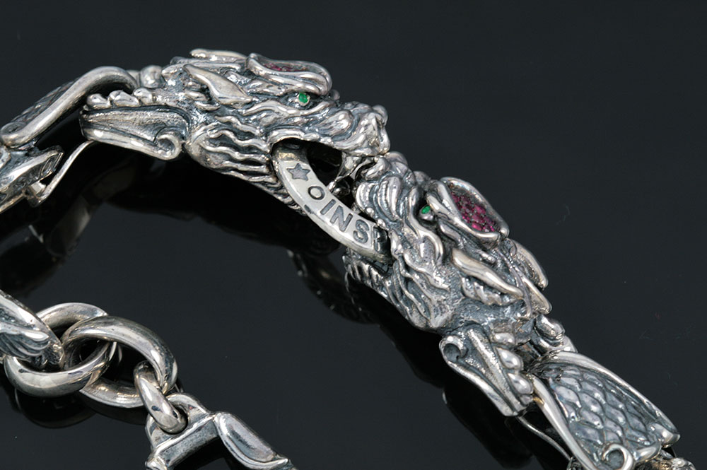 Giant Drago Natural Ruby Biting Dragons Silver Bracelet BR-013