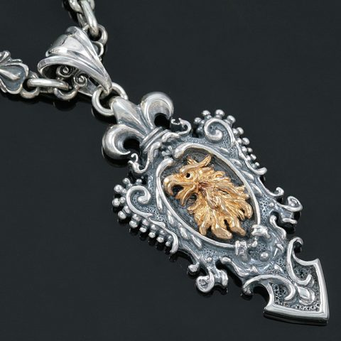 Golden Basilica Griffin Two Tone Silver Pendant PT-017