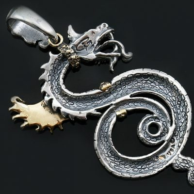 Golden or Bronze Winged Red Eyed Dragon Two Tone Silver Pendant PT-167