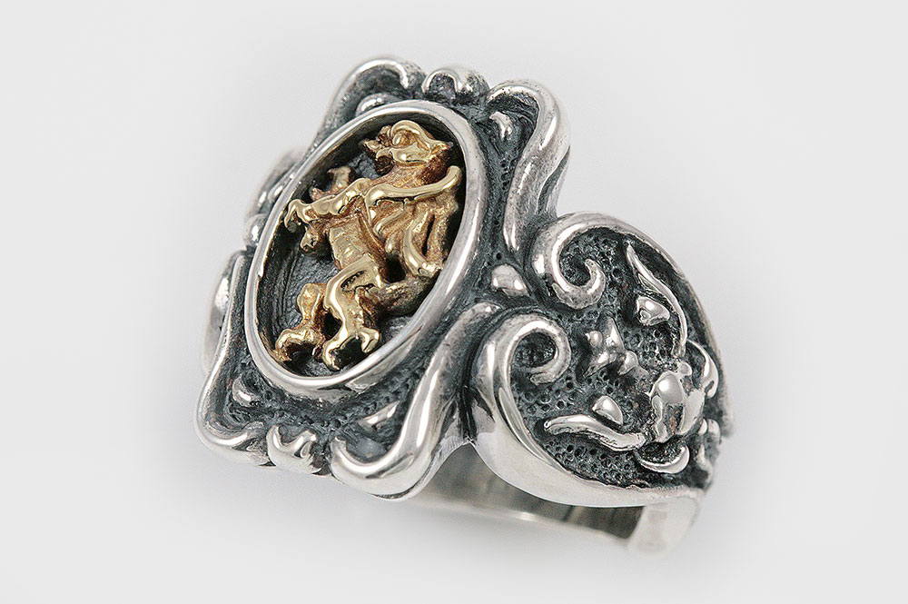 Golden Griffin Baroque Style Silver and 18K Gold Two Tone Ring UR-070