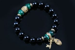 Golden Key & Cross 10mm Black Onyx and Malachite Beaded Bracelet BB-079