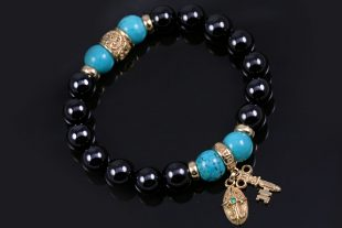 Golden Key & Cross 10mm Black Onyx and Turquoise Beaded Bracelet BB-081