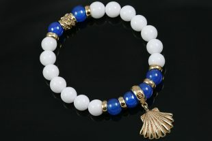 Golden Shell Charm 8mm Blue & White Agate Beaded Bracelet BB-084