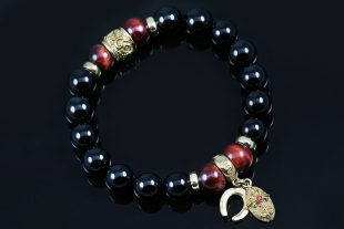 Good Luck 10mm Onyx & Red Tiger Eye Beaded Bracelet BB-075