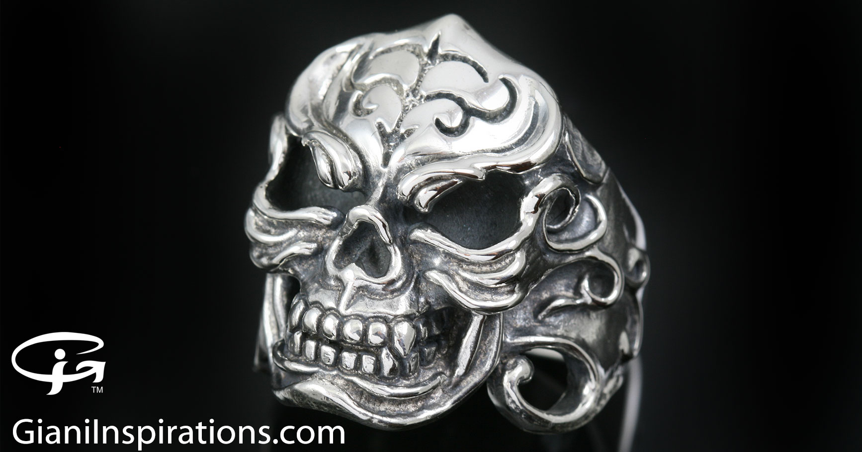 Gorilla Skull Gothic Adventure Style Oxidized Silver Ring