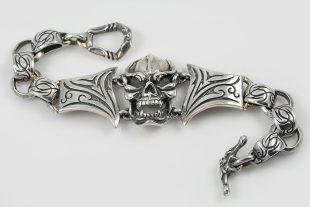 Gorilla Skull Oxidized Sterling Silver Bracelet BR-026