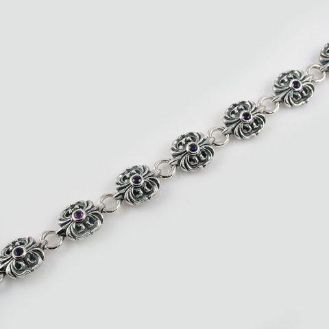 Gothic Amethyst Sterling Silver Bracelet LBR-018