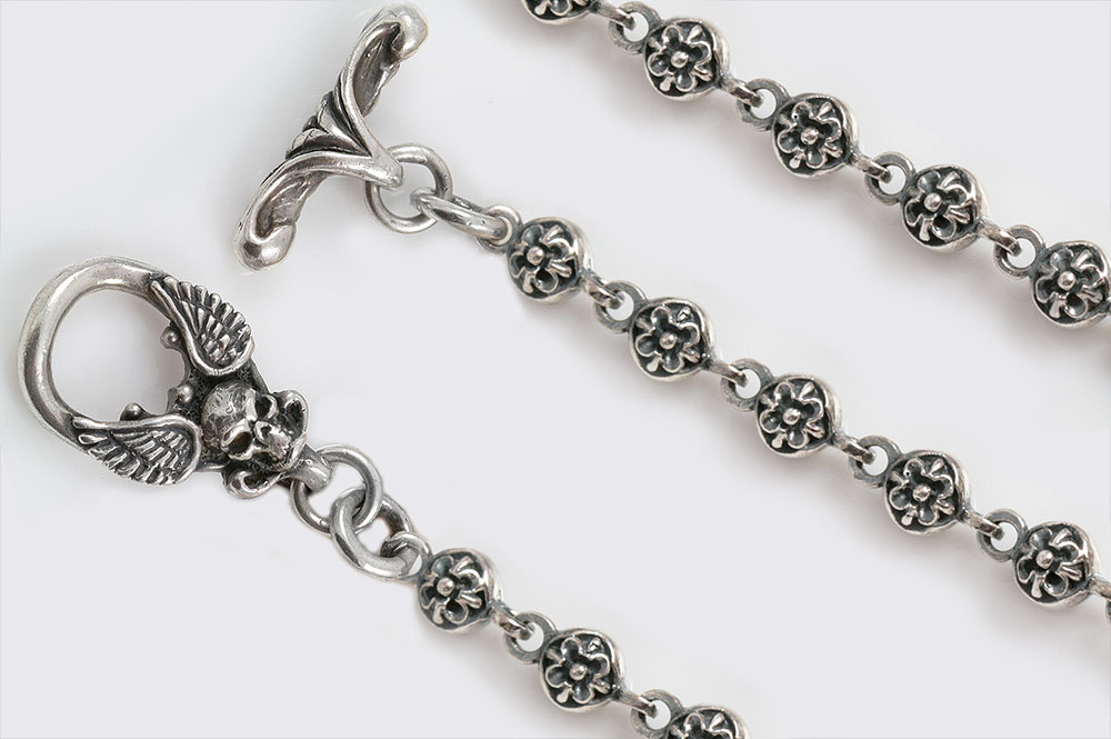 Gothic Ball Sterling Silver Chain With Winged Skull Clasp CHN-N8