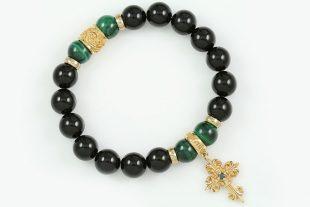 Gothic Cross 10mm Black Onyx and Malachite Beaded 18k Gold Plated Silver Bracelet BB-068