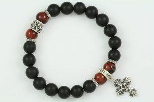 Gothic Cross Sterling Silver 10mm Red Tiger Eye & Matte Black Onyx Beaded Bracelet BB-059