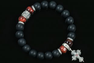 Gothic Cross Sterling Silver 10mm Red Tiger Eye & Matte Black Onyx Beaded Bracelet BB-059
