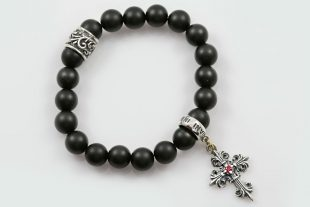 Gothic Cross Charm 8mm Black Matte Onyx Beaded Bracelet BB-078
