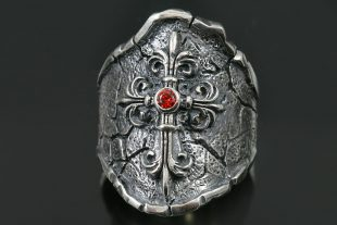 Gothic Cross Red Ruby or Garnet Antique Oxidized Silver Ring UR-124
