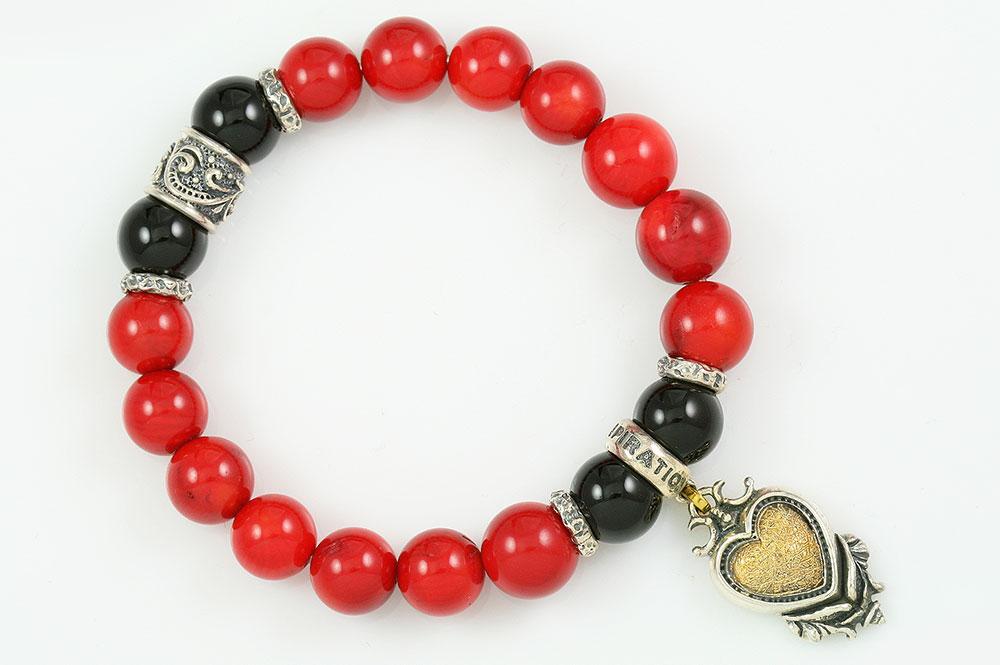 Gothic Heart 10mm Red Coral & Shiny Black Onyx Beaded Bracelet BB-065