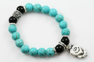 Gothic Heart 10mm Turquoise & Shiny Black Onyx Beaded Bracelet BB-064