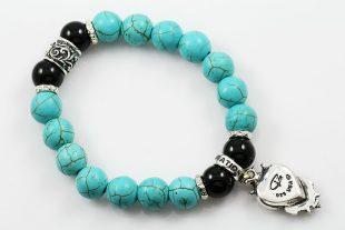 Gothic Heart 10mm Turquoise & Shiny Black Onyx Beaded Bracelet BB-064