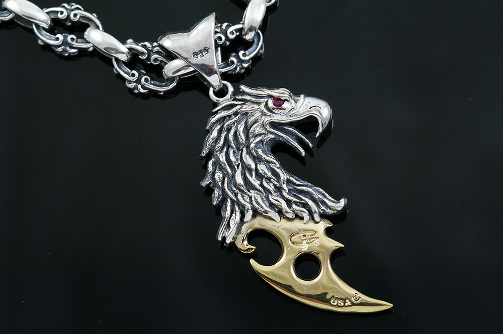 Grifoden Griffin Axe Two Tone Silver Pendant PT-121