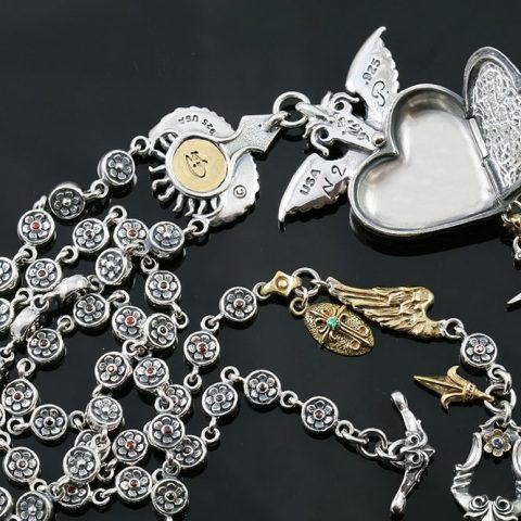 Guardian Angel Locket Heart Silver Necklace NK-136