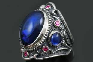 Hertsoginna Blue Cabochon Corundum Silver Ring LR-145B