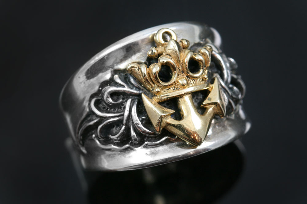Honorius Navy Emblem Antique Style Oxidized Silver Ring MR-118