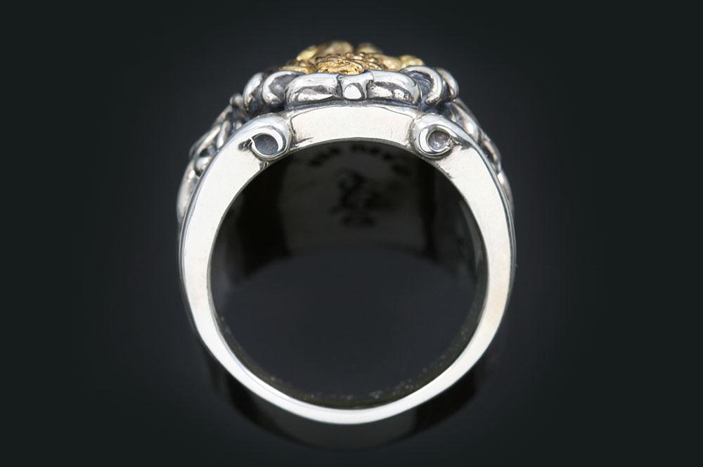 Honorius Rampant Heraldic Lion Antique Style Oxidized Silver Ring MR-117
