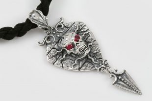 Hypnosis Red Eyed Skull Arrow Silver Pendant PT-094