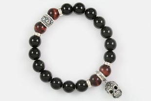 Iron Face Skull Silver 10mm Red Tiger Eye & Shiny Black Onyx Beaded Bracelet BB-055