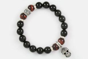 Iron Face Skull Silver 10mm Red Tiger Eye & Shiny Black Onyx Beaded Bracelet BB-055