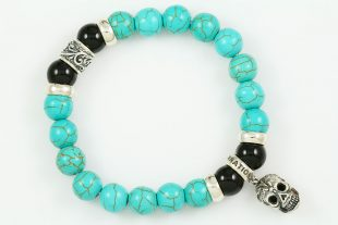 Iron Face Skull Silver 10mm Turquoise & Shiny Black Onyx Beaded Bracelet BB-062