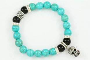 Iron Face Skull Silver 10mm Turquoise & Shiny Black Onyx Beaded Bracelet BB-062