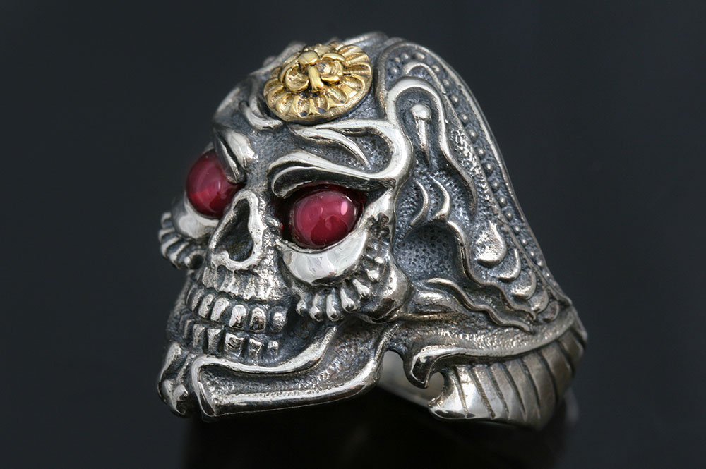 Japanese Samurai Skull Bronze & Silver 2 Tone Ring MR-129B